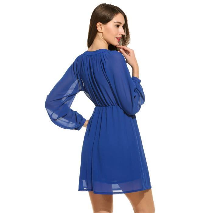 Craze impression élégante o-cou trois volants quarts manches robe G465Z