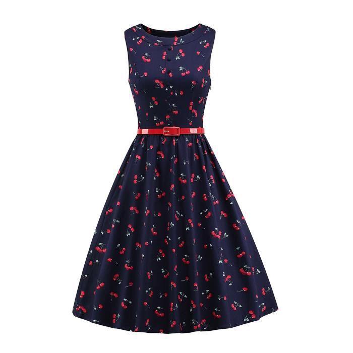 50 ans Femmes Classique Rockabilly Retour V style vintage bande robe de swing Taille Plus 2QJR3T Taille-46