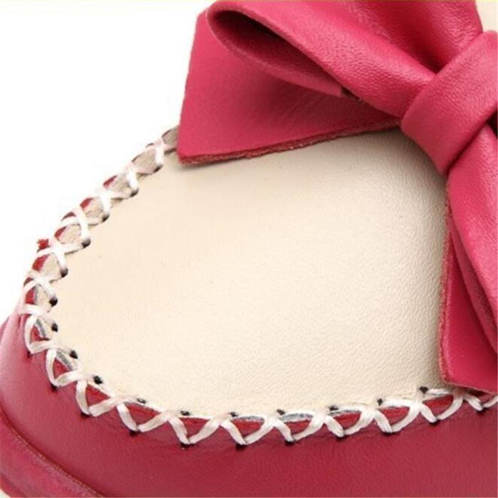 Mocassin Femmes Cuir Talon plat Leger Chaussure MMJ-XZ048Bleu39 7wpZTGavOH