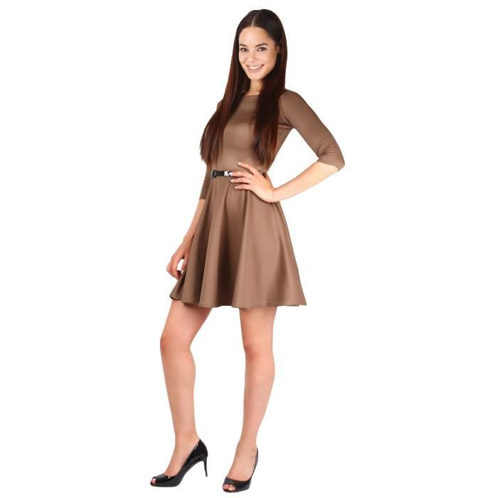 Robe Patineuse Ceinture Manches 3-4
