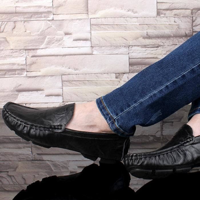 Mocassin Hommes Mode Chaussures Grande Taille Chaussures TYS-XZ73Noir50