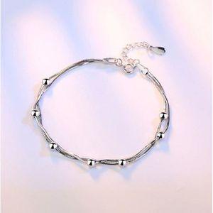 b97d3e3f4eaab BRACELET - GOURMETTE Bracelet Réglable Fantaisie Fille Perles Argentées