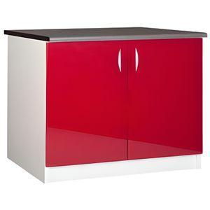 MEUBLE VASQUE - PLAN Meuble cuisine bas 120 cm sous évier OXANE rouge