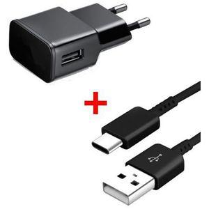 CHARGEUR TÉLÉPHONE Chargeur secteur-USB + Câble USB- Type C Noir pour