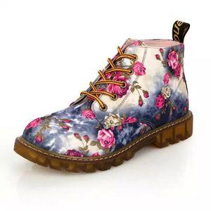 Napoulen®Femmes Soft Flat cheville floral imprimer Martin bottes lacet-up populaire Gris-LMH71205551GY UBZumTT