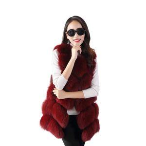 Hiver gilet de fourrure de luxe Chic Poilu fausse fourrure manteau ... c8560db4861