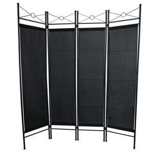 PARAVENT Séparateur de Pièces, Paravent, 180 x 160 cm, Noir