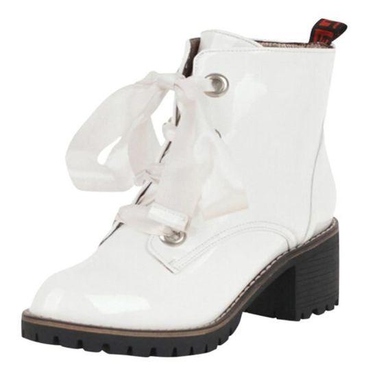 Coierbr@Chaussures à bout rond de la femme Anti-Slip Croix-Tied Croix-Tied Croix-Tied place talon Bottes en cuir BL7256 Blanc Blanc - Achat / Vente slip-on 520415