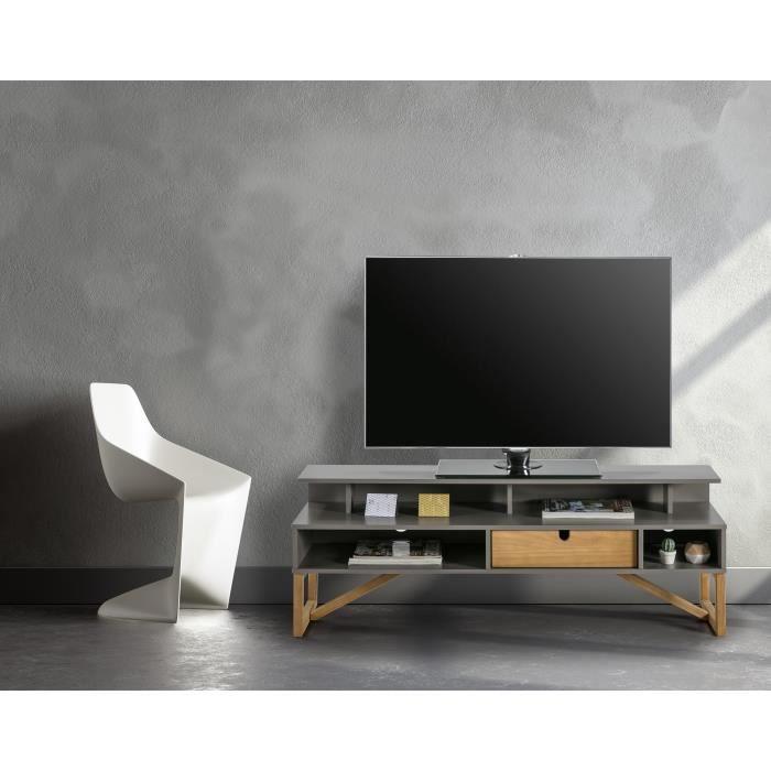 ALIA Meuble TV Bas à poser GALIA 1 tiroir en pin massif - Décor gris ciré - L 139 x P 37 x H 50 cm