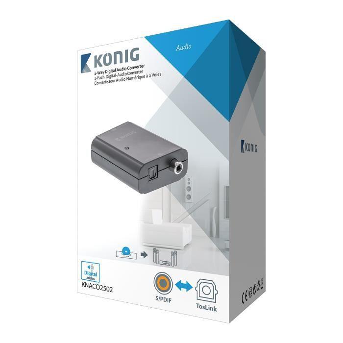 KONIG KNACO2502 Convertisseur audio numérique à 2 voies Toslink Femelle + SPDIF (RCA) Femelle