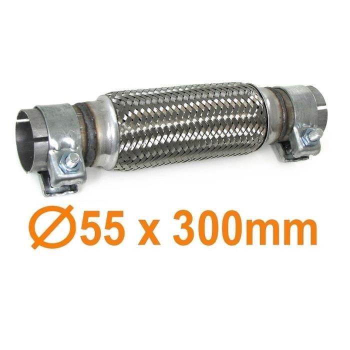 TUYAU DE REPARATION FLEXIBLE TRESSER ECHAPPEMENT 300MM DIAMETRE 55MM + 2 COLLIERS