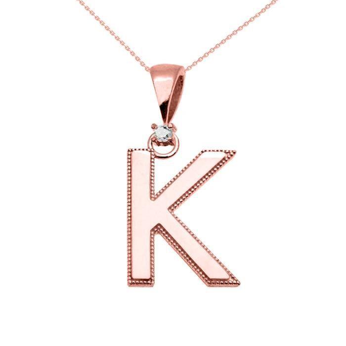Collier Femme Pendentif 10 Ct Or Rose Poli Élevé Milgrain Solitaire Diamant K Initiale (Livré avec une 45cm Chaîne)