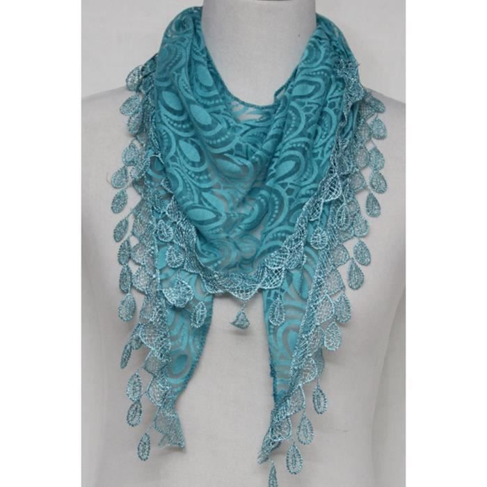 26faf1b1320b Foulard pointe femme dentelle Bleu turquoise uni pampilles Bleu ...