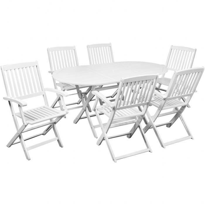 Table à manger avec six chaises d\'extérieur Blanc bois d ...
