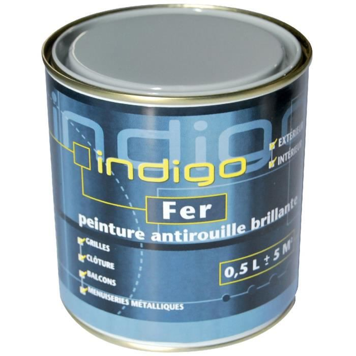 peinture fer antirouille 500ml indigo gris clair achat vente peinture vernis peinture. Black Bedroom Furniture Sets. Home Design Ideas
