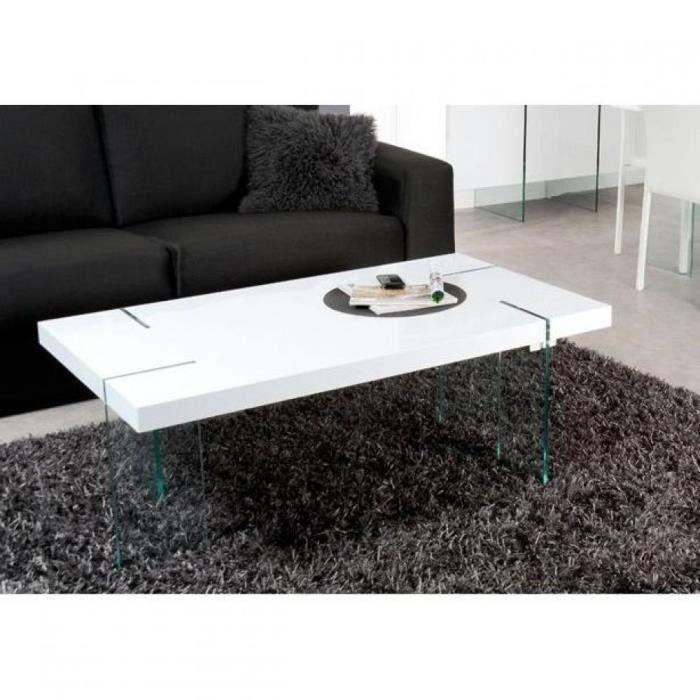 Table basse design scoop blanche pieds en verre achat vente table basse table basse design - Table basse en verre cdiscount ...