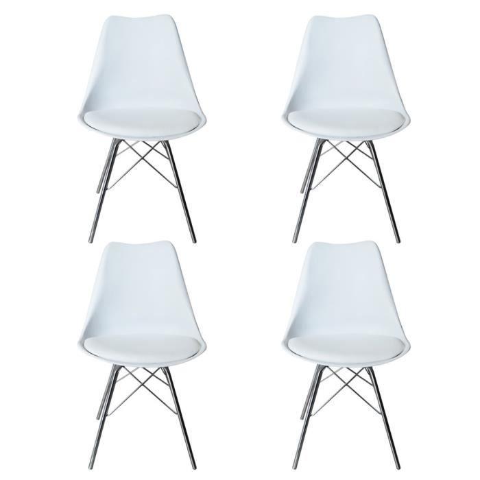 CHAISE Lot De 4 Chaises Design Style DSW Scandinave Avec