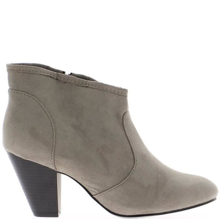 bottines femme grises talon de 7cm gris gris achat vente bottine cdiscount. Black Bedroom Furniture Sets. Home Design Ideas