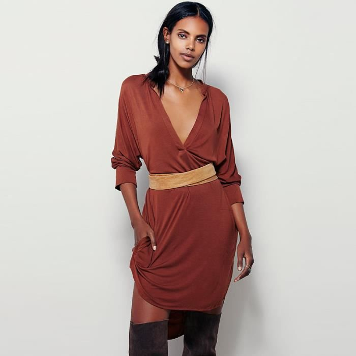 couleur pure sexy profonde robe v d collet leas...