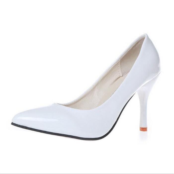 Verni Talon Femme Chaussures Pointu Cuir Blanc Escarpins Multicolore Bout jaune Haut En Mode x1BwHz