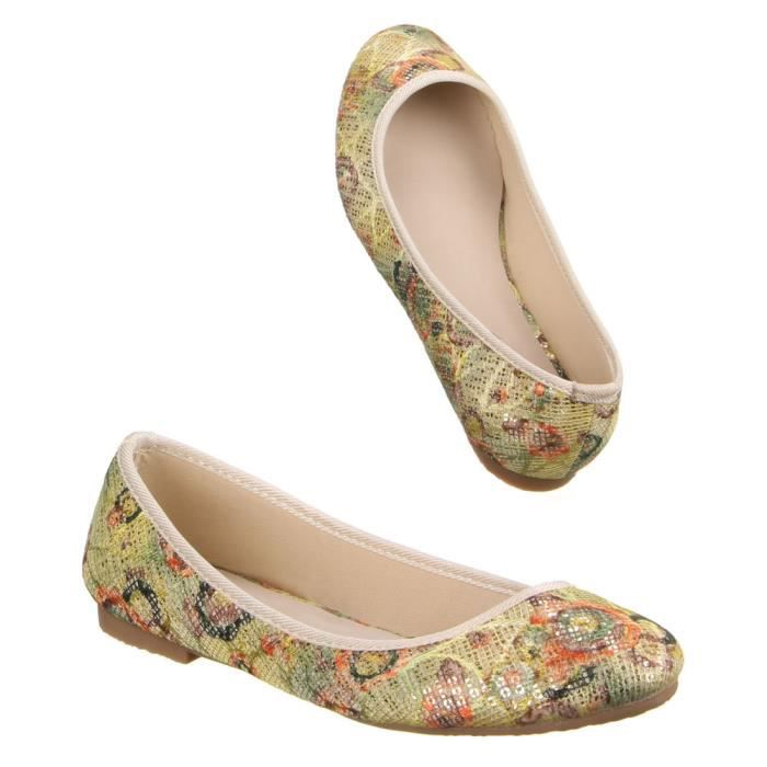 Femme chaussures ballerines coloré Slippers Beige Multi 40