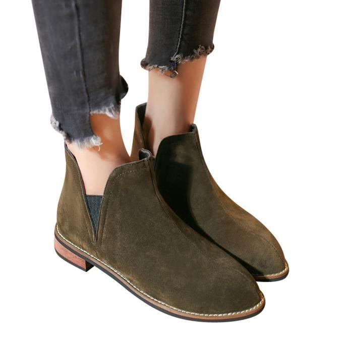 BOTTE Femmes rondes Toe Shoes couleur pure bottillons ca