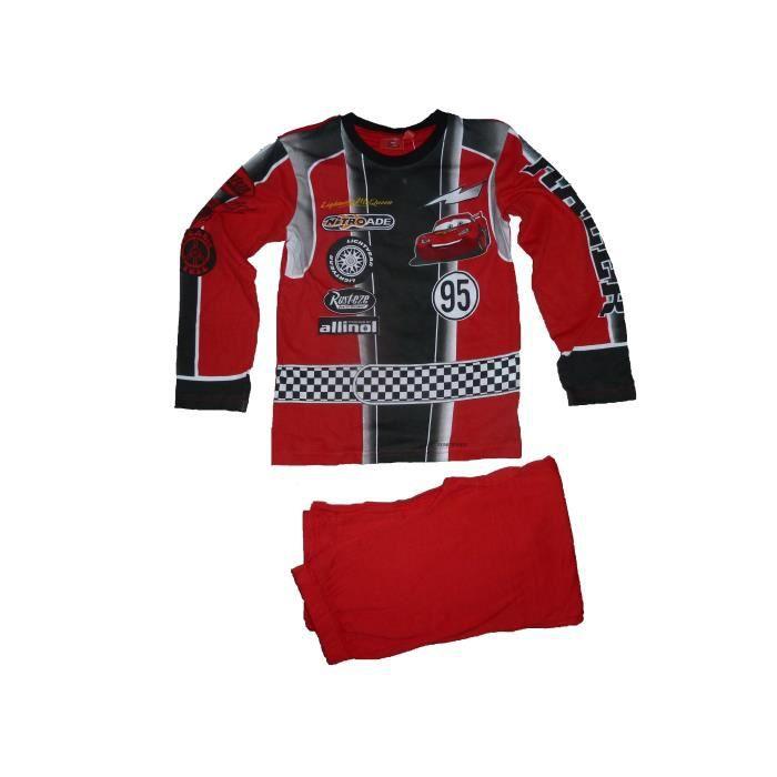 fd26cb4e008a5 Pyjama enfant garçon déguisement Cars Flash mac Queen 8 ans 2 pièces  maillot manches longues pantalon en coton voiture rouge Disney