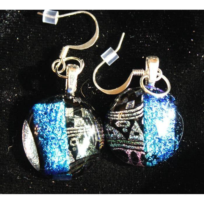 Femmes en verre dichroïque Boucles doreilles sur les fils de plaque dargent avec la conception dor et de verre Teal CDQDH