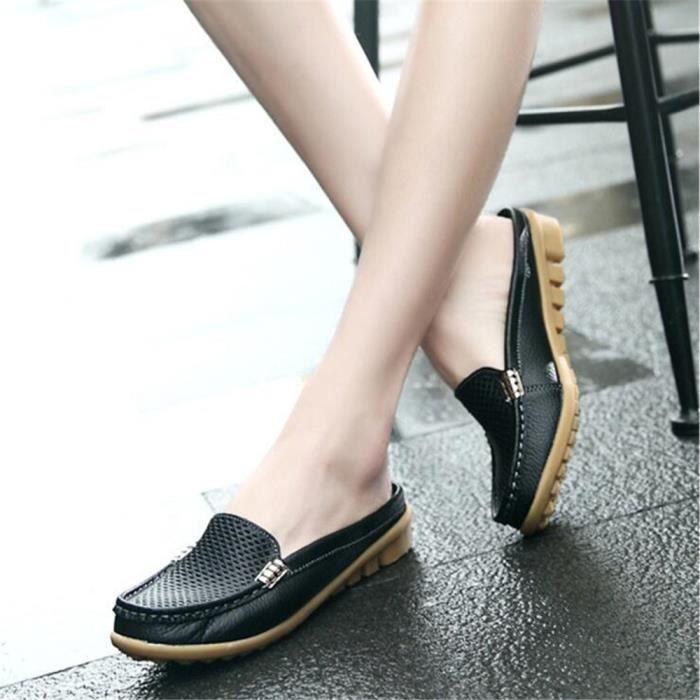 Mocassin Femmes Cuir Occasionnelles Casual Chaussure DTG-XZ045Noir39