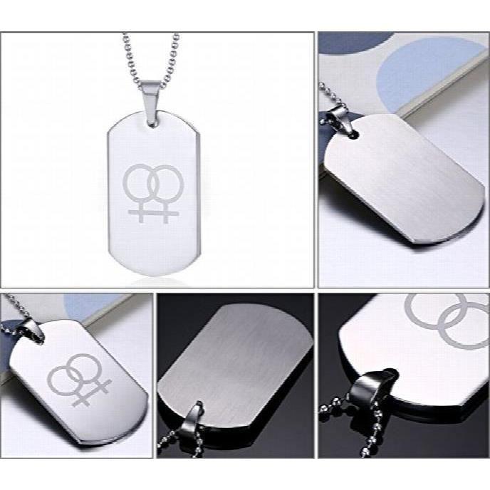 Femmes Lesbiennes Lgbt Asma en acier inoxydable Fierté Symbole Dog Tag Pendentif collier pourFJATS