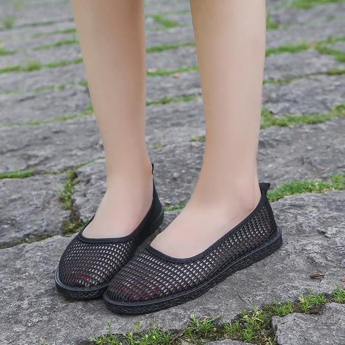 Femme Mode Bateaunoir Respirant Casual Plat Talon Slip Pois Chaussures Creux dTqxrOgwT