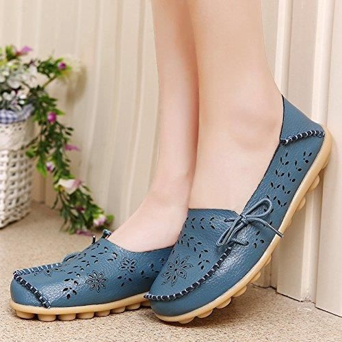 Comfortable Rubber Sole Leather Flats Slip On Loafer Shoes TB2BH Taille-38 1-2