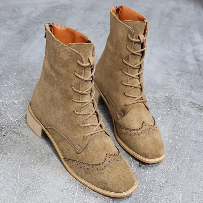 Kaki Pachasky®suede Chaussures Cheville Plates Xym80904902kh39 Femme Bottes Mode Épais Cuir Montantes vwAqvZR6
