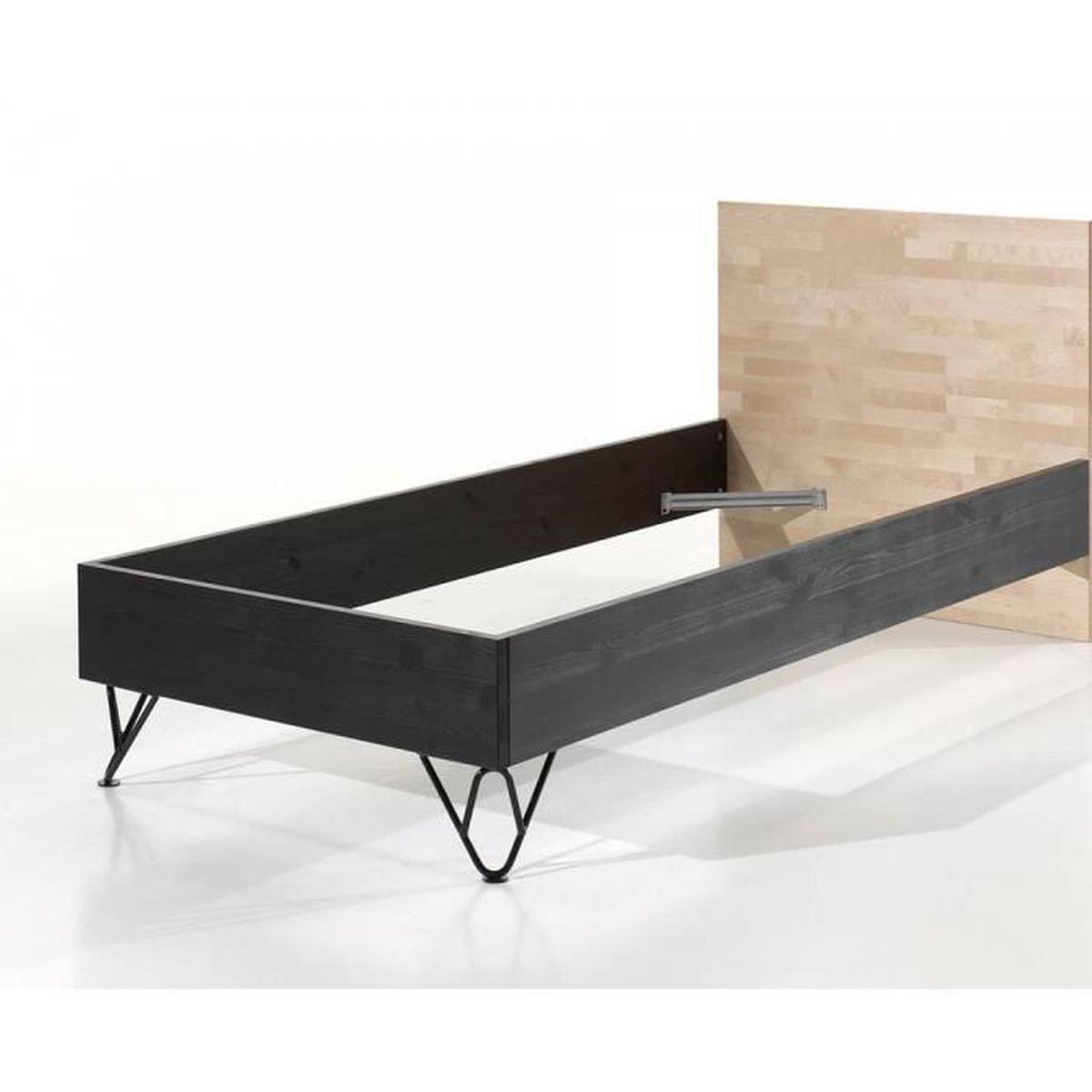 vipack lit simple en bois massif vernis et pieds m tal william 90x200 achat vente lit. Black Bedroom Furniture Sets. Home Design Ideas