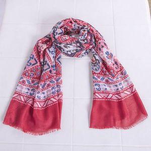 ECHARPE - FOULARD Châle foulard à imprimé ethnique pour femmes rouge e9355f36da5