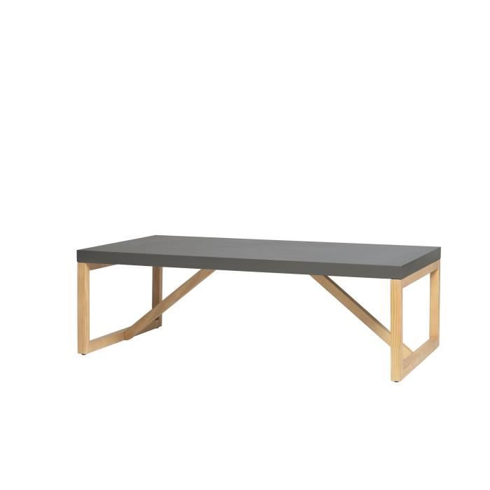 ALIA Table basse en pin massif - Décor gris ciré - L 110 x...
