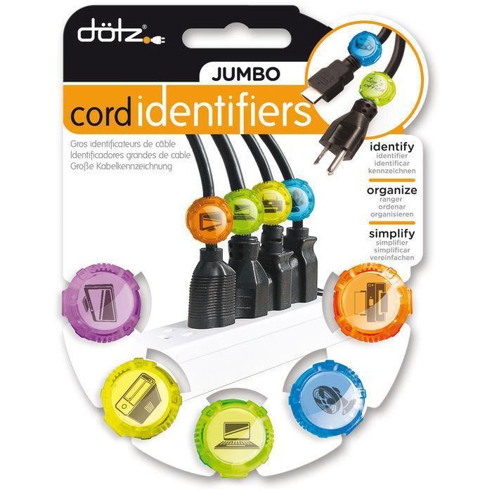 DOTZ Jumbo Cord Identifiers - 5 identificateurs de câble d'alimentation bricolage - 25 vignettes car