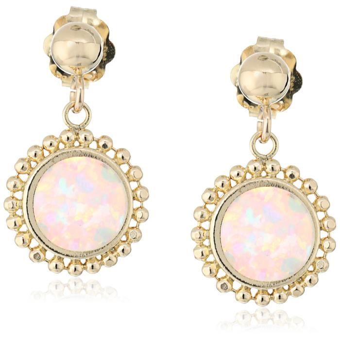 Craze 14k Yellow Gold Round Created Opal Stud Earrings WAS2K