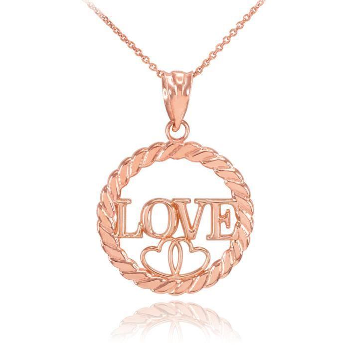 Collier Femme Pendentif 14 Ct Or Rose Amour Cœurs À Cercle Corde (Livré avec une 45cm Chaîne)