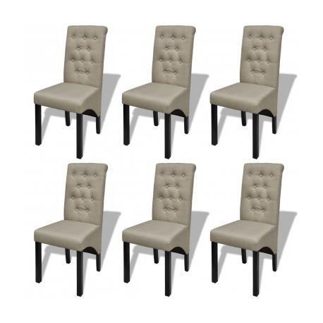 Lot de 6 chaises de salle à manger salon beige antique - Achat ...