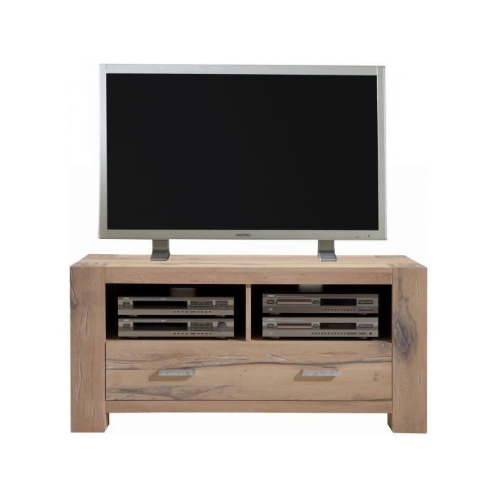Meuble Tv Rustique 133 Cm A 1 Tiroirs Et 2 Niches Ouvertes En Bois