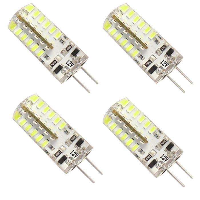 Mengjay® 4X G4 Ampoule LED Blanc froid DC 12V 3W 48LEDs SMD 3014 220-250LM maïs Lampe pour lampe en cristal LED ampoules Spot ...