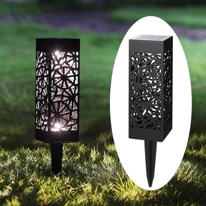 2pcs Lampe solaire exterieur de jardin, Borne solaire jardin, Borne jardin  solaire sol, Lampe de jardin exterieur sur pied 6500K