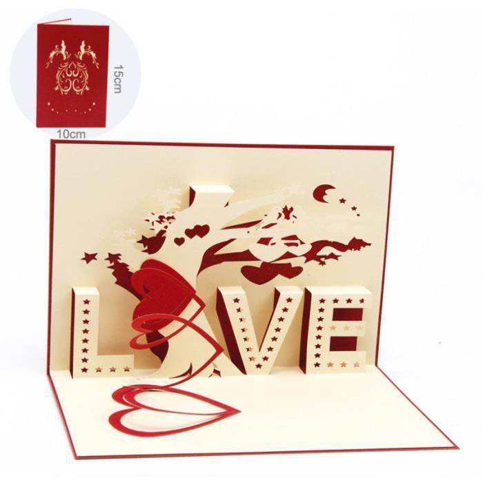 Carte Cdiscount St Valentin.1pc Carte De Voeux 3d Arbre D Amour Pour Saint Valentin Mariage Anniversaire Rouge