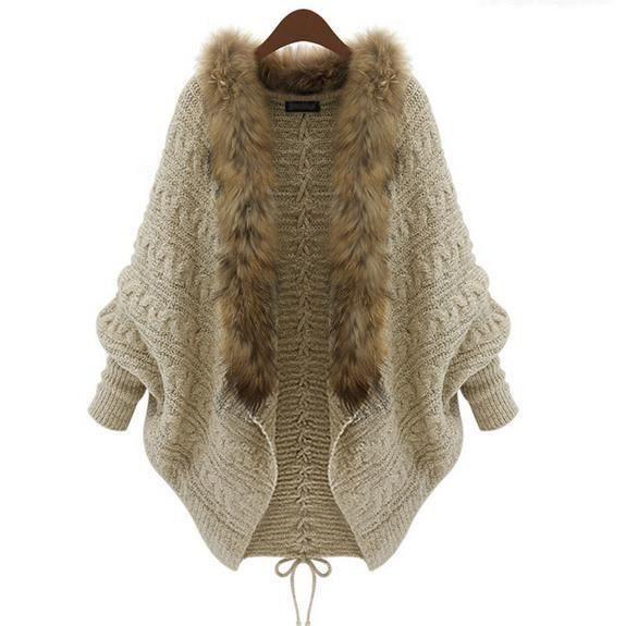 cardigans-Automne et hiver col fourrure manteau de chandail de 2015 nouvelles femmes de nouvelle Cardigan en maille pour femmes