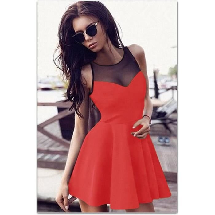 Femmes Robes Sexy Fashion Lace Splicing Voir Gr...