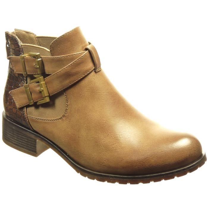 femme Intérieur lanière Mode 3 peau Chaussure boots Khaki de Angkorly Talon bloc chelsea Fourrée serpent CM boucle Bottine gRZx1z