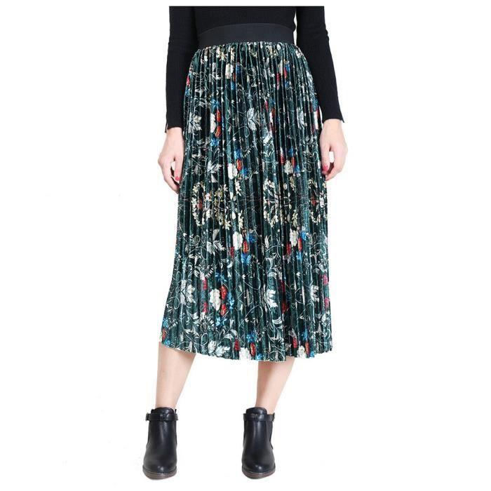 Vert foncé Jupe Femme Mi-Longue Plissé A-Line Évasée Taille Haute Élastique  Imprimé Fleuri Velours Amincissant S-XL Rétro Grande f68f9f9ce55