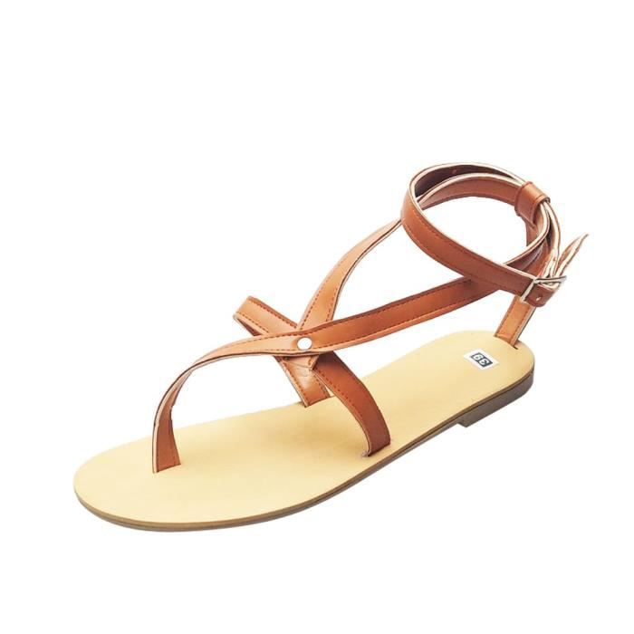 a5222d25154 Sandales plates d été creuses Sexy mode flops flops femmes Clip Toe sandales  Jaune