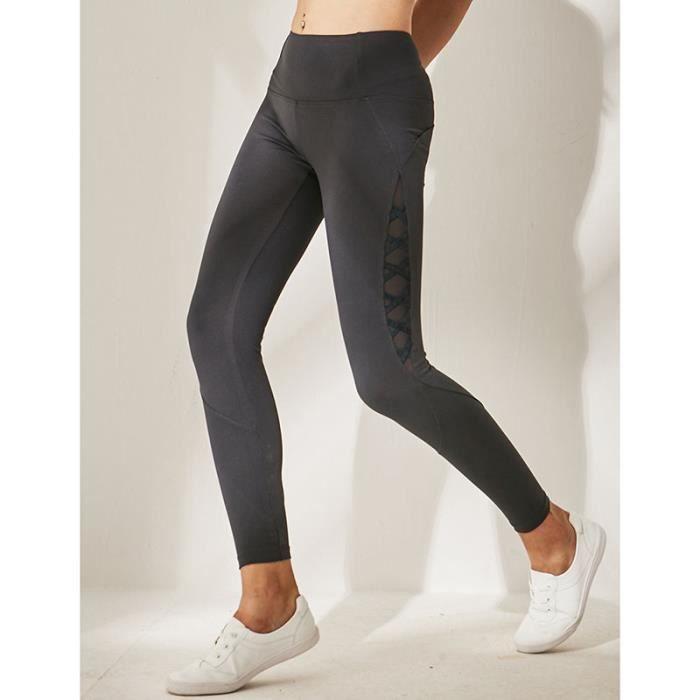 Legging De Sport Femme Sport Running Fitnesse Couleur Unie Gris Gris ... 94e233c84b4